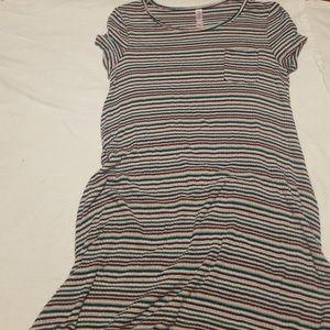 Girls stripped super baggy T-shirt dress